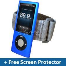 Azul piel caso + Brazalete Para Apple Ipod Nano 5th Gen 5g Funda De Silicona Titular
