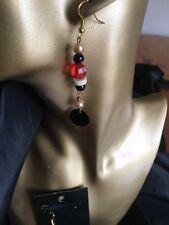 Shell & Wood  & Acrylic Bead Drop Earrings Handmade . Fish Hook Fittings