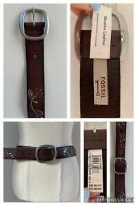 FOSSIL Women's RRP$59 Genuine Leather 'Floral Stud Vine Brown' Belt Size Small