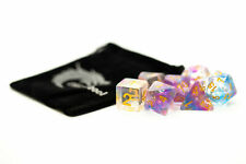 Old School 7 Piece DnD RPG Dice Set: Nebula - Purple & Blue