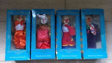 """Set of 4 Boxed Hand Painted Porcelain """" World of Clowns """" Clown Dolls"""