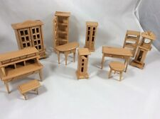 11 Piece Set Light Wood Doll House Furniture Living Room