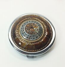 """Brighton Compact Dual Mirrors Patent Brown Leather Crystals 2 3/4"""" Very Nice"""