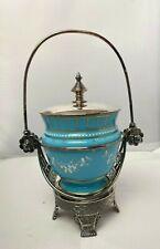 Antique Blue Glass Enamel Floral Pickle Castor Meriden Quadruple #1775