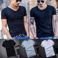 Men V&O Neck Cotton T-shirt Slim Fit Short Sleeve Summer Sports Casual Tee Tops
