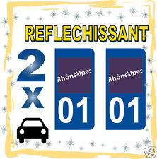 2 stickers REFLECHISSANT département 01 rétro-réfléchissant immatriculation AUTO