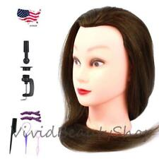"25"" Cosmetology Mannequin Human Hair Hairdresser Manikin Doll Wig Head Brown"