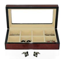 Hand Made Cherry Glass Luxury Case Cufflinks Ring Tie clip Storage Display Box C