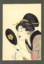 Dessin encre de chine & aquarelle Japon Hand made china ink signé Geneviève n32