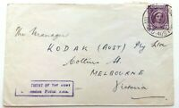 AUSTRALIA Cover 1947? - Slogan Cancel: Dept. of the Army Concession Postal Rate