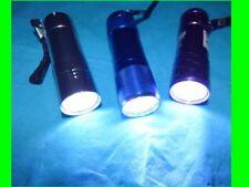 =  9 - LED Taschenlampe  =   9 ultrahelle LEDs = ALU leicht blau  silber  pink