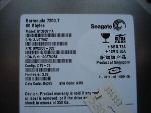 "Seagate Barracuda IDE 7200.7 80GB 7200 RPM 3.5"" ST380011A & Interface cable"