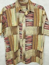 GORGEOUS Tori Richard Brown and Red Island Cotton Lawn Hawaiian Shirt M