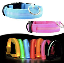 SAFETY LED Dog Pet Light Up Collar Night Glow Adjustable Bright 6 Colors