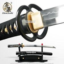 Munetoshi T10 Handmade Samurai Wakizashi Sword Differential Harden Musashi Tsuba