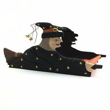 Vintage Wooden Flying Witch Halloween Tray
