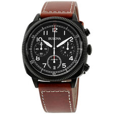 Bulova Military UHF Black Dial Leather Strap Men's Watch 98B245