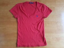 Ralph Lauren Womens Top T Shirt Red V Neck Medium