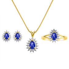 Diamond & Blue Star Sapphire Matching Earrings, Pendant Necklace and Ring Set I