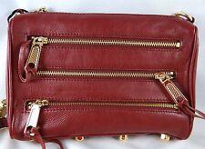 Rebecca Minkoff MINI 5-ZIP RED LEATHER CONVERTIBLE CROSSBODY BAG