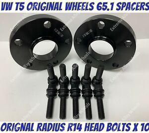 Alloy Wheel Spacers 25mm x 2 + M14x1.5 B Bolts Fits Original VW T5 T6 T28 Wheels