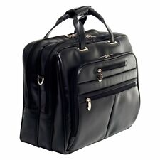 17 in Laptop Case Travel Wheeled Briefcase Sleeve Notebook Black Leather Bag New