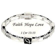 Faith Hope Love I Corinthians 13:13 Christian Ichthus Religious Bracelet #552-A