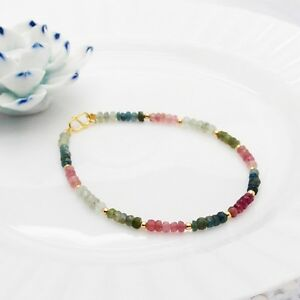 Watermelon Tourmaline multi Tourmaline faceted Bracelet Tiny Design 925 Silver