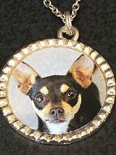 "Dog Chihuahua Black & Tan Charm Tibetan Silver 18"" Necklace Mix D BIN"