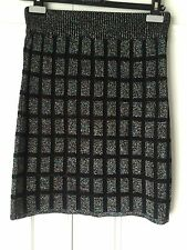 New Ladies Top Shop Mini Skirt In, Black With Rainbow Squares, Size 10 Acrylic