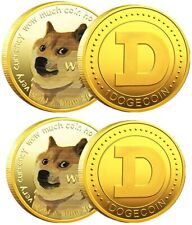 2x Gold Dogecoin Coins Commemorative 2021 Limited Edition Collectible Doge Coin