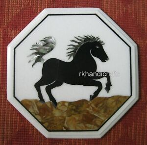 18 Inches Horse Pattern Inlaid Corner Table Top Marble Coffee Table Home Decor