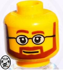 ☀️NEW Lego Male Boy MINIFIG HEAD w Glasses beard  & Smile - Police/City/Agents