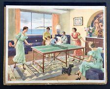Rare Calendrier 1938  «Jeu de Ping-Pong» / par J.L Beuzon / Tennis de Table