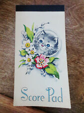 1950s Bridge Card Game Score Pad Cat Kitten Collectible Item Unused Notebook