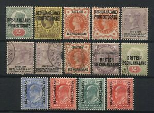 Bechuanaland Collection 14 QV / KEVII Stamps Used / Unused Mounted
