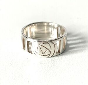 Solid sterling silver Open Work Mackintosh Style Band Ring : UK - Q