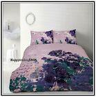 Retro Lovebird Cage Purple Teal Dust Pink QUEEN QUILT DOONA COVER 2 PILLOW CASE