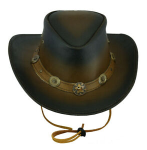 New Australian Western Style Outback Cowboy Leather Bush Hat Wide Brim S to 2XL