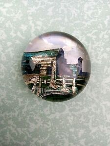 Victorian Glass Paperweight Crystal Palace Sydenham 2.5inch
