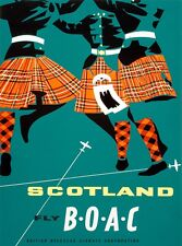 Scotland Fly B-O-A-C Great Britain Vintage Travel Advertisement Poster Print