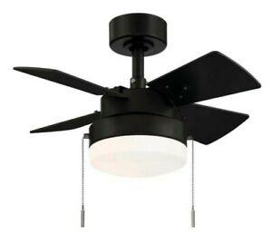 """Hampton Bay Metarie II 24"""" Ceiling Fan w/ Light Matte Black Reversible Blades"""