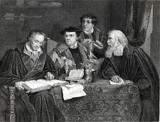 LUTHER, MELANCTHON, POMERANUS AND CRUCIGER 1876 Labouchere ANTIQUE ETCHING