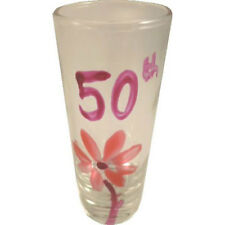 50th Birthday Pink Flower Shot Glass (Tall)