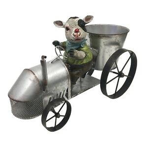 Moo on the Tractor Sculpture Home Decor Ornament Figure