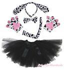 Halloween Party Dalmatian Dog Kid Headband Ear Paw Tail Bow Gauze Skirt Costume