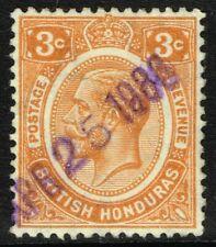 SG 129 BRITISH HONDURAS 1933 - 3c ORANGE - USED