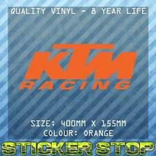 KTM RACING VINYL STICKER (40cm, ORANGE) MOTORBIKE, MOTO, MX, WINDOW, DECAL