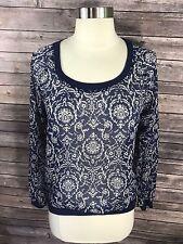 Mason Mackenzie Womens Top Size XS Blue White Sheer Floral Shirt