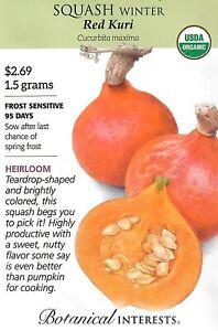 Squash Winter Red Kuri Organic Vegetable Seeds - Botanical Interests 1.5g 12/21